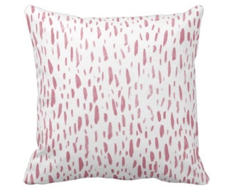 "OUTDOOR Hand-Painted Dashes Throw Pillow or Cover, Millenial Pink/White 16, 18 or 20"" Sq Pillows or Covers, Dots/Spots Print Abstract"