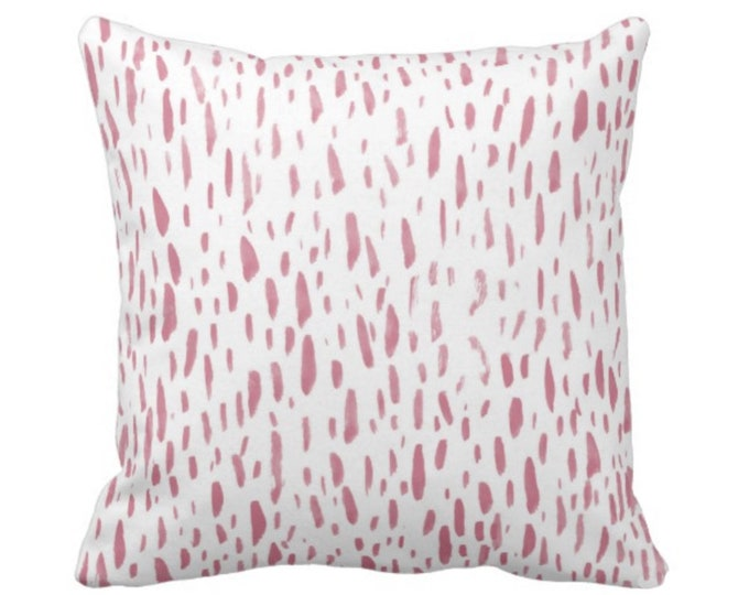 """Hand-Painted Dashes Throw Pillow or Cover, Millenial Pink/White 14, 16, 18, 20, 26"""" Sq Pillows or Covers, Dots/Spots Print Abstract"""