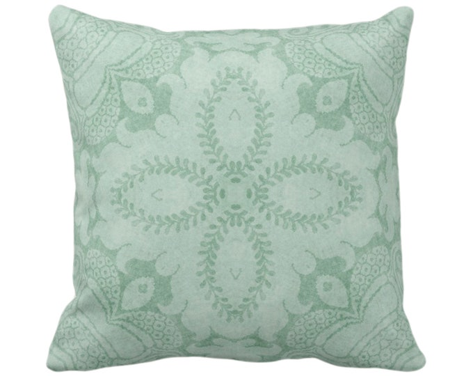 "OUTDOOR Nouveau Damask Throw Pillow/Cover, Celadon Green 16, 18, 20 or 26"" Sq Pillows/Covers, Dusty Mint Floral/Batik/Boho/Tribal Pattern"