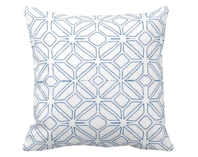"OUTDOOR Tribal Trellis Throw Pillow/Cover, Navy/White 14, 16, 18, 20, 26"" Sq Pillows/Covers, Blue Geometric/Diamond/Triangle Print/Pattern"