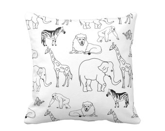 "Jungle Animals Throw Pillow or Cover, Black/White 16, 18, 20, 26"" Sq Pillows/Covers, Gender Neutral Nursery/Modern/Animal Print/Pattern"