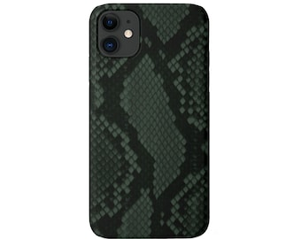 Snakeskin iPhone 12, 11, XS, XR, X, 7/8 Mini/Pro/Max/Plus/P Snap Case or TOUGH Protective Cover Green/Black Snake/Animal Print/Design