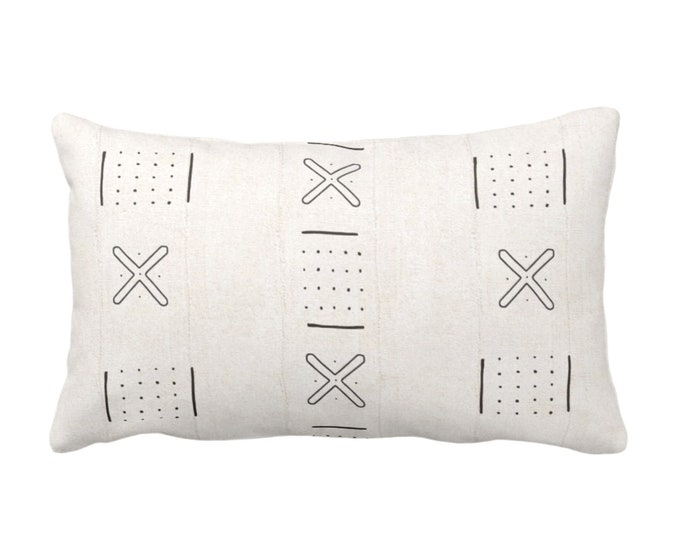 """OUTDOOR Mud Cloth Throw Pillow or Cover, X Outline & Dots Off-White/Black Print 14 x 20"""" Lumbar Pillows/Covers, Mudcloth/Tribal/Geometric"""
