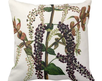 """OUTDOOR Vintage Botanical Vines Throw Pillow or Cover, 14, 16, 18, 20, 26"""" Sq Pillows/Covers Leaves/Nature/Plant Dark Green/Purple Print"""
