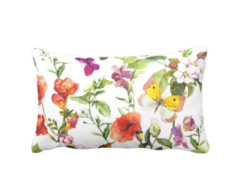 "Vintage Floral Throw Pillow or Cover, Colorful Flowers Print 14 x 20"" Lumbar Pillows or Covers, Orange/Green/Yellow/Purple"