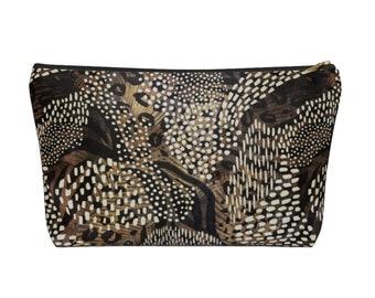 Leopard Camo Print Zippered Pouch, Animal Printed Design, Cosmetics/Pencil/Make-Up Organizer/Bag, Camoflage Black/Brown Spots/Spot Pattern