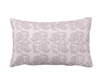 "OUTDOOR Block Print Floral Throw Pillow or Cover, Lavender 14 x 20"" Lumbar Pillows or Covers, Dusty Purple Flower/Batik/Indian/Boho Pattern"