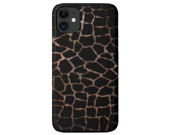 Giraffe Print iPhone 11, XS, XR, X, 7/8, 6/6S Pro/Max/P/Plus Snap Case or TOUGH Protective Cover Black/Camel/Beige Animal Spots Pattern
