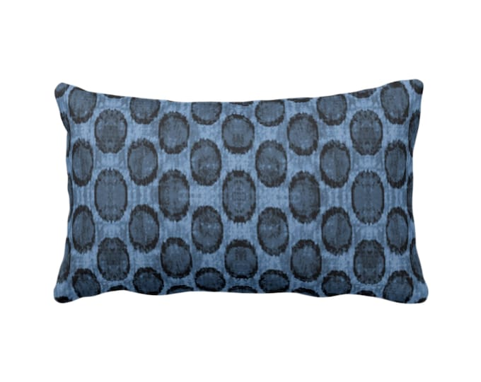 "Ikat Ovals Print Throw Pillow or Cover 14 x 20"" Lumbar/Oblong Pillows or Covers, Navy/Dark Blue Geometric/Circles/Dots/Dot/Geo/Polka Pattern"