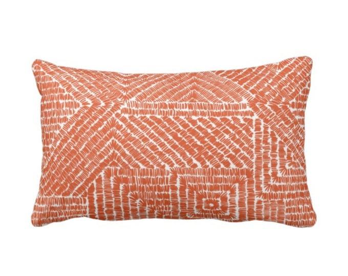 "Tribal Geo Throw Pillow or Cover, Terracotta 14 x 20"" Lumbar Pillows or Covers, Deep Orange Geometric/Batik/Boho/Lines/Diamond Pattern/Print"