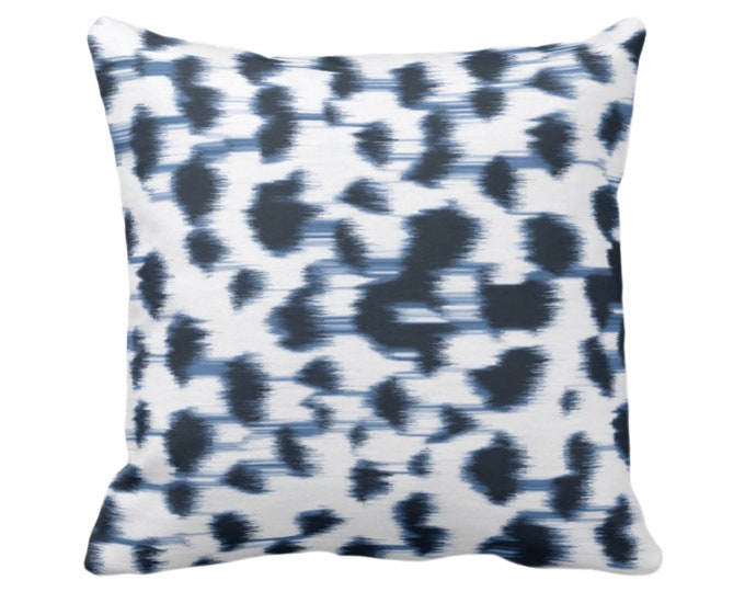 "OUTDOOR - READY 2 SHIP Ikat Abstract Animal Print Throw Pillow Cover 26"" Sq Pillow Covers, Navy Blue/White Spotted/Dots/Spots/Geo/Dot"