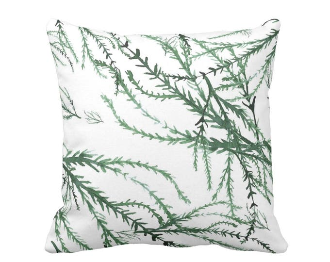 """OUTDOOR Watercolor Branches Throw Pillow or Cover, Kale/White 16, 18 or 20"""" Sq Pillows or Covers, Green Ocean/Leaves/Floral Print"""
