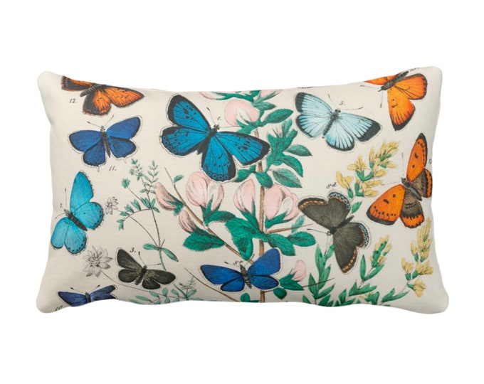 """OUTDOOR Vintage Butterflies Throw Pillow or Cover 14 x 20"""" Sq Pillows/Covers, Colorful Teal/Turquoise/Green Butterfly Floral Print/Pattern"""