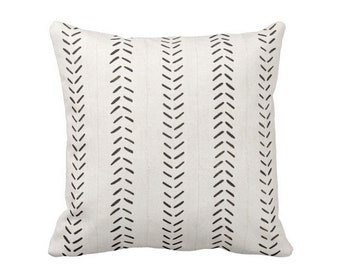 """READY 2 SHIP - OUTDOOR Mud Cloth Print Throw Pillow Cover, Off-White/Black 16"""" Sq Pillow Covers, Mudcloth/Boho/Arrows/Tribal/Design"""