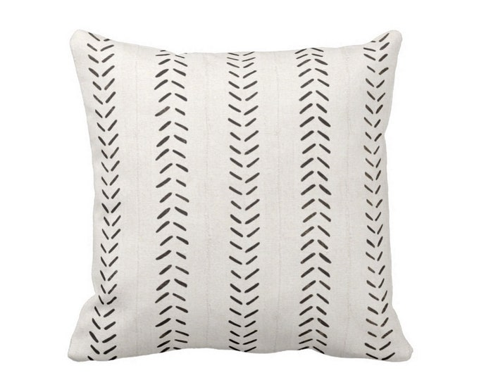 "READY 2 SHIP - OUTDOOR Mud Cloth Print Throw Pillow Cover, Off-White/Black 20"" Sq Pillow Covers, Mudcloth/Boho/Arrows/Tribal/Design"