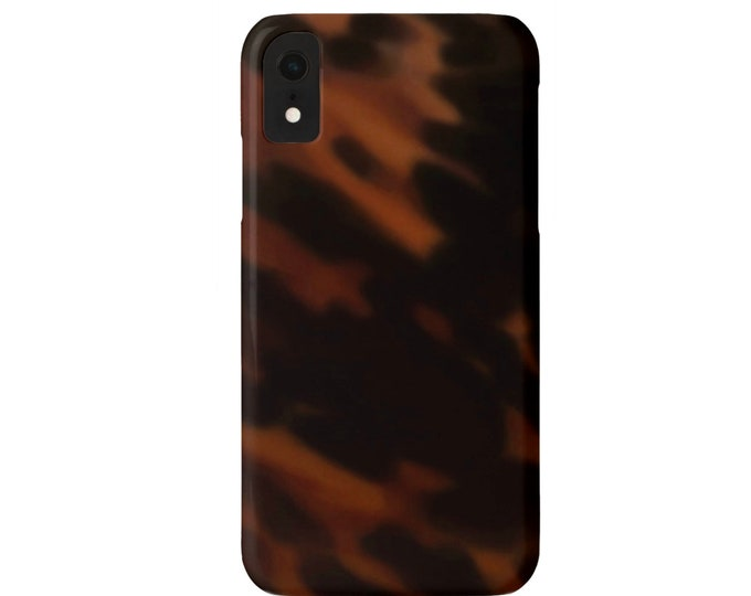 Classic Dark Tortoise Shell iPhone XS, XR, X, 7/8 or 6/6S, 6 P/Plus/Max Snap Case or TOUGH Protective Cover Faux Tortoiseshell Print/Design