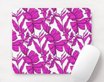 Bird of Paradise Mouse Pad/Mousepad, Bright Purple/Pink Pattern, Tropical/Floral/Botanical/Palm Illustration/Art Print