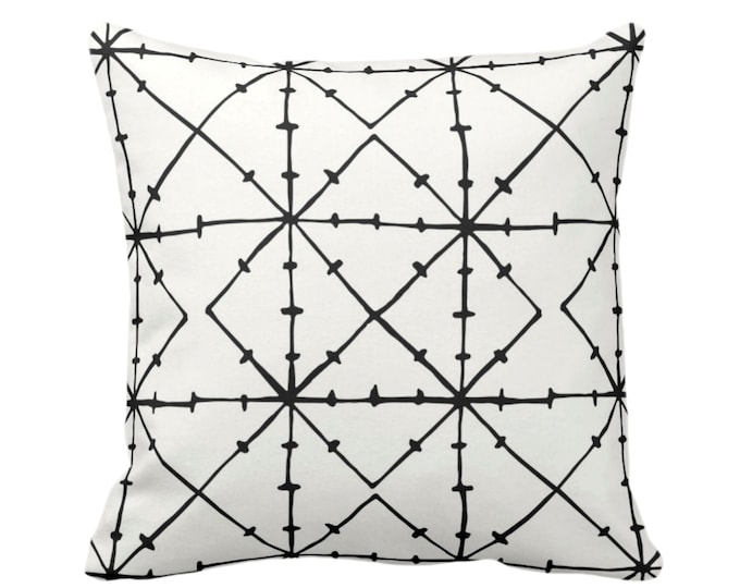 "OUTDOOR Tribal Geometric Throw Pillow/Cover, Black/Off-White Print 16, 18, 20 or 26"" Sq Pillows/Covers, Geo/Lines/Triangles/Modern/Diamond"