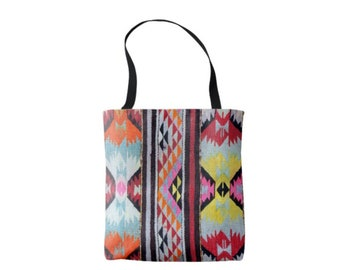 Geometric Southwest Print Market Tote, Boho Colorful, Bright Mexican Blanket/Rug Printed Bag