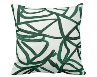 "Abstract Throw Pillow or Cover, White/Balsam 16, 18, 20, 26"" Sq Pillows Covers, Painted Dark Green Modern/Geometric/Geo/Lines Painting Print"