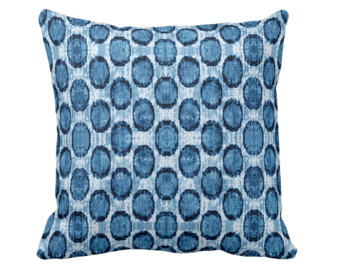 "Ikat Ovals Print Throw Pillow or Cover 14, 16, 18, 20, 26"" Sq Pillows or Covers, Indigo Blue Geometric/Circles/Dots/Dot/Geo/Polka Pattern"