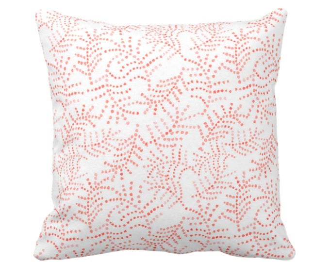 """OUTDOOR Watercolor Flora Print Throw Pillow or Cover, Coral/White 16, 18, 20 or 26"""" Sq Pillows/Covers, Pink/Orange Floral/Botanical/Trellis"""