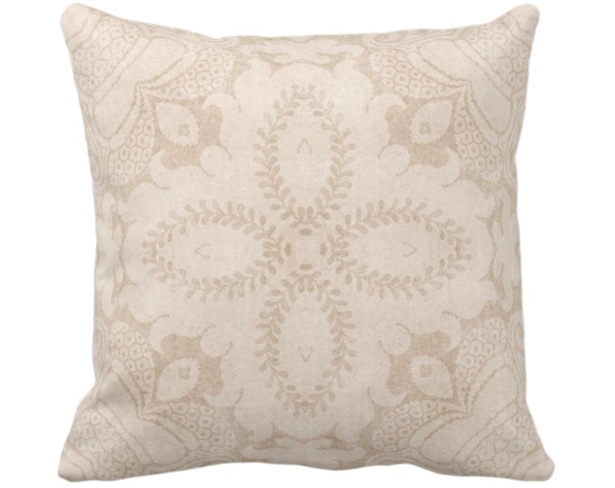 "OUTDOOR Nouveau Damask Throw Pillow/Cover, Almond 16, 18, 20 or 26"" Sq Pillows/Covers, Beige/Sand/Cream Floral/Batik/Boho/Tribal Pattern"