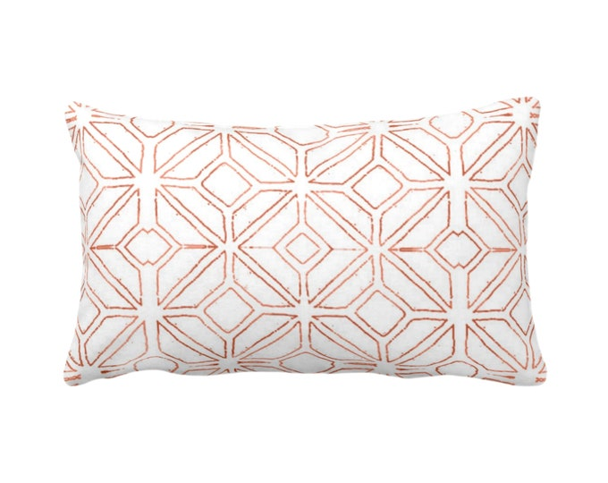 "Tribal Trellis Throw Pillow or Cover, Burnt Orange/White 14 x 20"" Lumbar/Oblong Pillows/Covers, Geo/Geometric/Diamond/Triangle Print/Pattern"