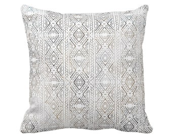 "OUTDOOR Tribal Diamonds Print Throw Pillow/Cover 14, 16, 18, 20, 26"" Sq Pillows/Covers, Multi Taupe/Brown/Charcoal Geometric/Diamond/Lines"