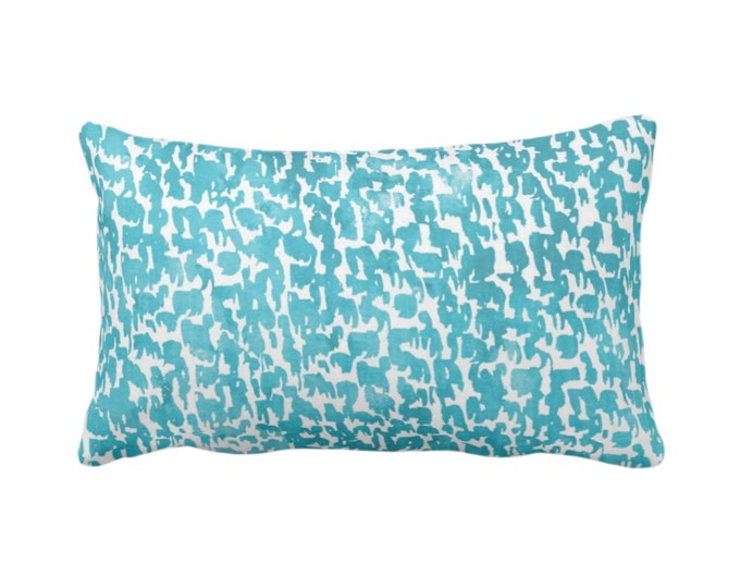 """OUTDOOR Teal Speckled Print Throw Pillow or Cover 14 x 20"""" Lumbar Pillows/Covers Aqua/Turquoise Abstract/Marbled/Spots/Dots/Painted/Dashes"""