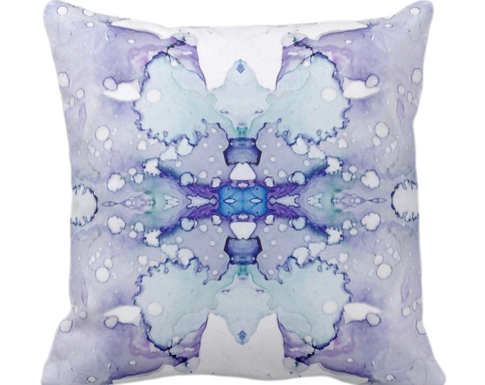 """Mirrored Watercolor Throw Pillow or Cover 14, 16, 18, 20, 26"""" Sq Pillows/Covers Abstract Modern/Minimal Lilac Purple/Gray/Aqua Painted Print"""
