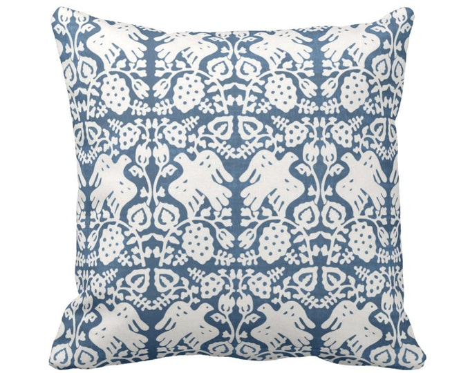 "OUTDOOR Block Print Bird Floral Throw Pillow or Cover, Indigo 14, 16, 18, 20, 26"" Sq Pillows or Covers, Blue/White Blockprint/Boho Print"