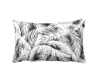 "OUTDOOR Palm Leaves Throw Pillow or Cover, Black & White Print 13 x 21"" Lumbar Pillows or Covers, Tropical/Nature Pattern"