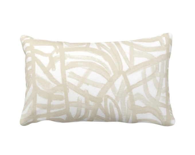 """OUTDOOR Avant Throw Pillow or Cover, White/Cream 14 x 20"""" Lumbar Pillows/Covers Print Ivory/Off-White Art Abstract Modern/Geometric/Lines"""