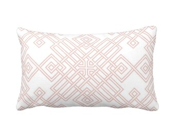 "Interlocking Geo Throw Pillow or Cover, Blush/White 14 x 20"" Lumbar Pillows or Covers, Dusty Rose/Pink Trellis/Tile Print/Pattern"