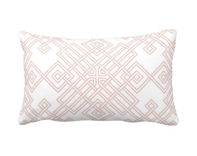 "Interlocking Geo Throw Pillow or Cover, Blush/White 14 x 20"" Lumbar Pillows or Covers, Dusty Rose/Pink Trellis/Tile Print/Pattern"