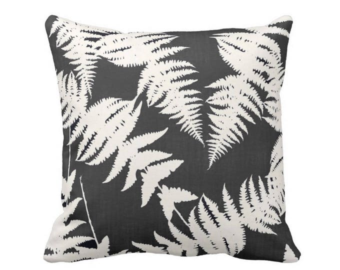 """Fern Silhouette Throw Pillow or Cover, Charcoal/Ivory 16, 18, 20 or 26"""" Sq Pillows or Covers, Leaf/Leaves/Modern/Botanical Print"""
