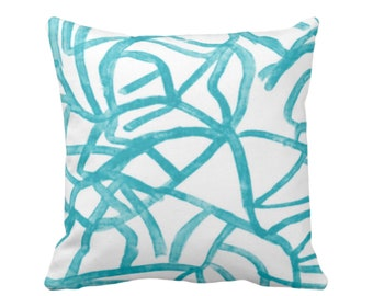 "OUTDOOR Abstract Throw Pillow or Cover, White/Mod Turquoise 16, 18, 20"" Sq Pillows Covers, Painted Modern/Lines/Geometric Painting Print"