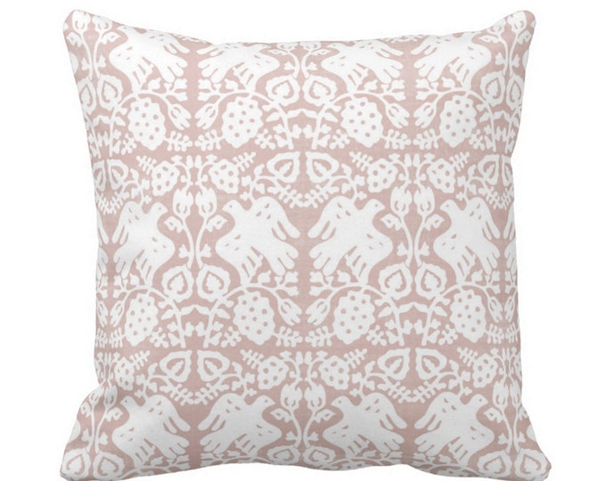 """Block Print Bird Floral Throw Pillow or Cover, Sand Pink 14, 16, 18, 20, 26"""" Sq Pillows or Covers, Dusty Rose Blockprint/Boho Print"""