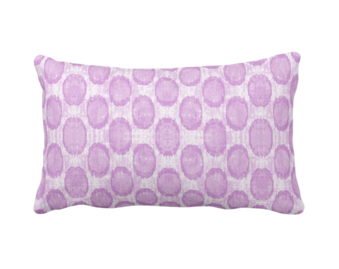 "OUTDOOR Ikat Ovals Print Throw Pillow/Cover 14 x 20"" Lumbar/Oblong Pillows/Covers Orchid Purple Geometric/Circles/Dots/Dot/Geo/Polka Pattern"
