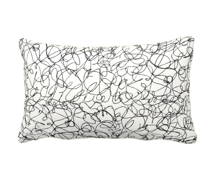 """Scribble Lines Throw Pillow or Cover, Ivory/Black 14 x 20"""" Lumbar Pillows or Covers, Subtle/Modern/Abstract/Lines/Art/Squiggle Print/Pattern"""