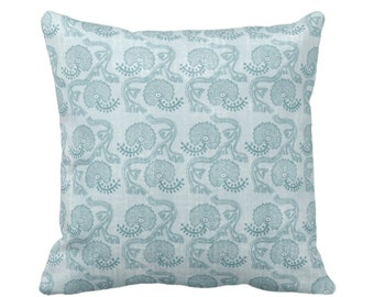 "OUTDOOR Block Print Floral Throw Pillow/Cover Dusty Turquoise 14, 16, 18, 20, 26"" Sq Pillows/Covers Blue/Green Batik/Boho/Blockprint Pattern"