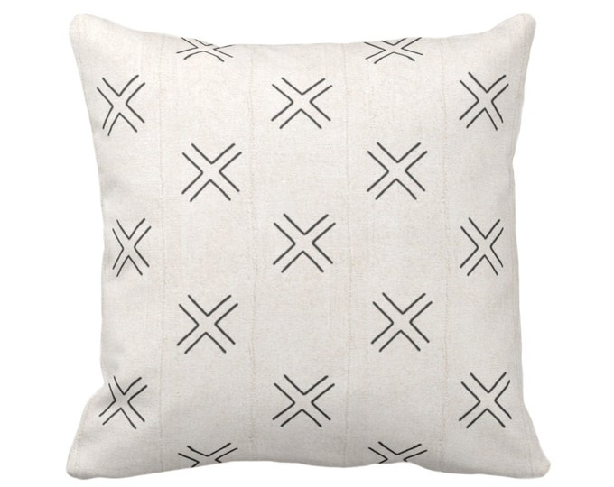 "Mud Cloth Print Throw Pillow or Cover, Double X Off-White/Black 16, 18, 20, 26"" Sq Pillows/Covers, Mudcloth/Boho/Cross/Tribal/Geometric/Geo"