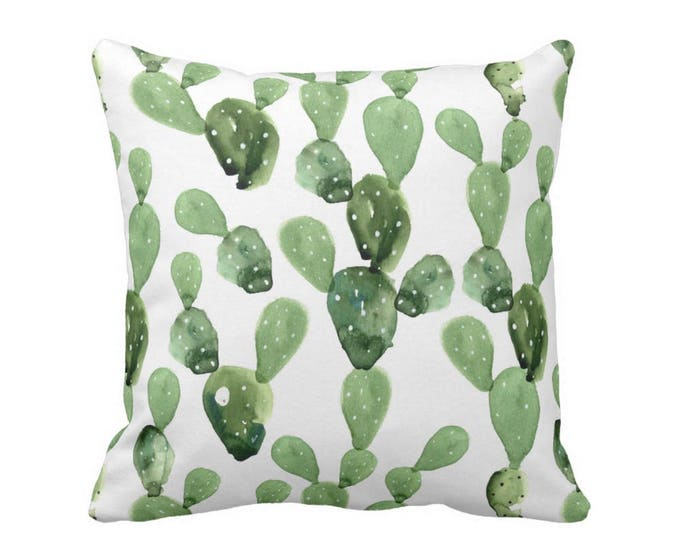 """Watercolor Cactus Throw Pillow or Cover, Green/White 16, 18, 20, 26"""" Sq Pillows or Covers, Olive Succulent/Southwest/Cacti/Print"""