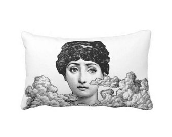 """Fornasetti Face & Clouds Lumbar Throw Pillow or Cover, Modern Black and White 14 x 20"""" Pillows or Covers, Lina Cavalieri/Woman"""