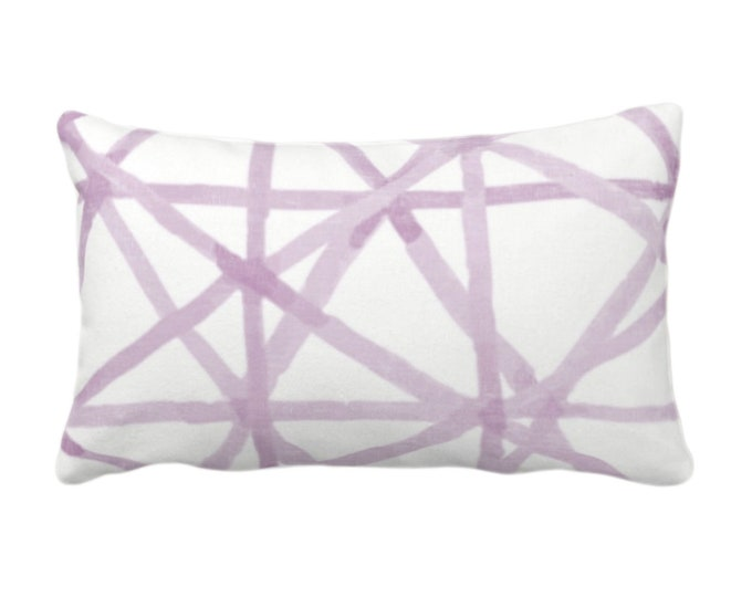 """Painted Lines Print Throw Pillow or Cover, White/Amethyst 14 x 20"""" Lumbar Pillows Covers, Purple Abstract/Geometric/Geo/Modern/Lines Pattern"""