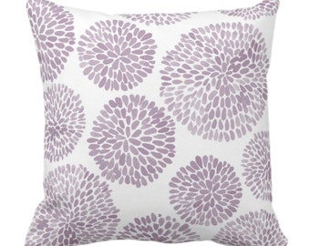 """Watercolor Chrysanthemum Throw Pillow or Cover, Dusty Purple/White 14, 16, 18, 20, 26"""" Sq Pillows/Covers Light Modern/Floral/Flower Print"""