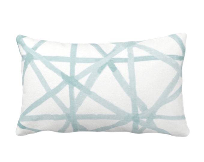 """OUTDOOR Painted Lines Throw Pillow or Cover, White/Seaglass 14 x 20"""" Lumbar Pillows/Covers Print, Blue/Green Abstract Geometric/Geo/Lines"""