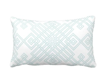 "OUTDOOR Interlocking Geo Throw Pillow or Cover, Teal/White 14 x 20"" Lumbar Pillows/Covers, Aqua/Turquoise Trellis Print/Pattern"