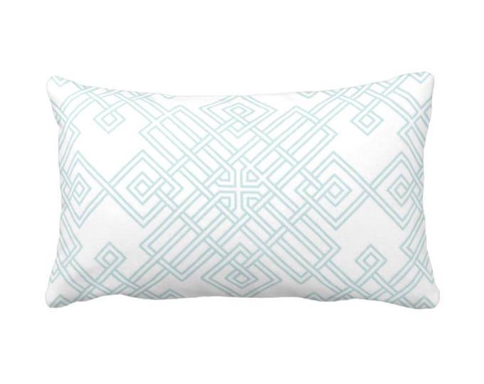 "OUTDOOR Interlocking Geo Throw Pillow or Cover, Teal/White 14 x 20"" Lumbar Pillows/Covers, Aqua/Turquoise Trellis Print/Pattern"